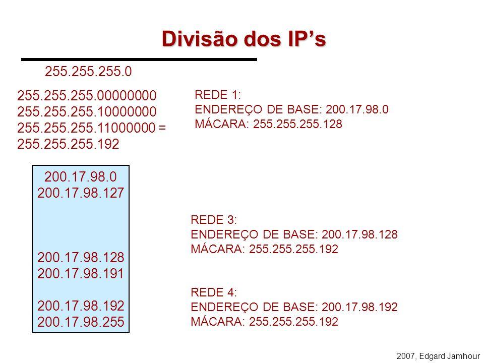 Divisão dos IP's 255.255.255.0. 255.255.255.00000000. 255.255.255.10000000. 255.255.255.11000000 = 255.255.255.192.
