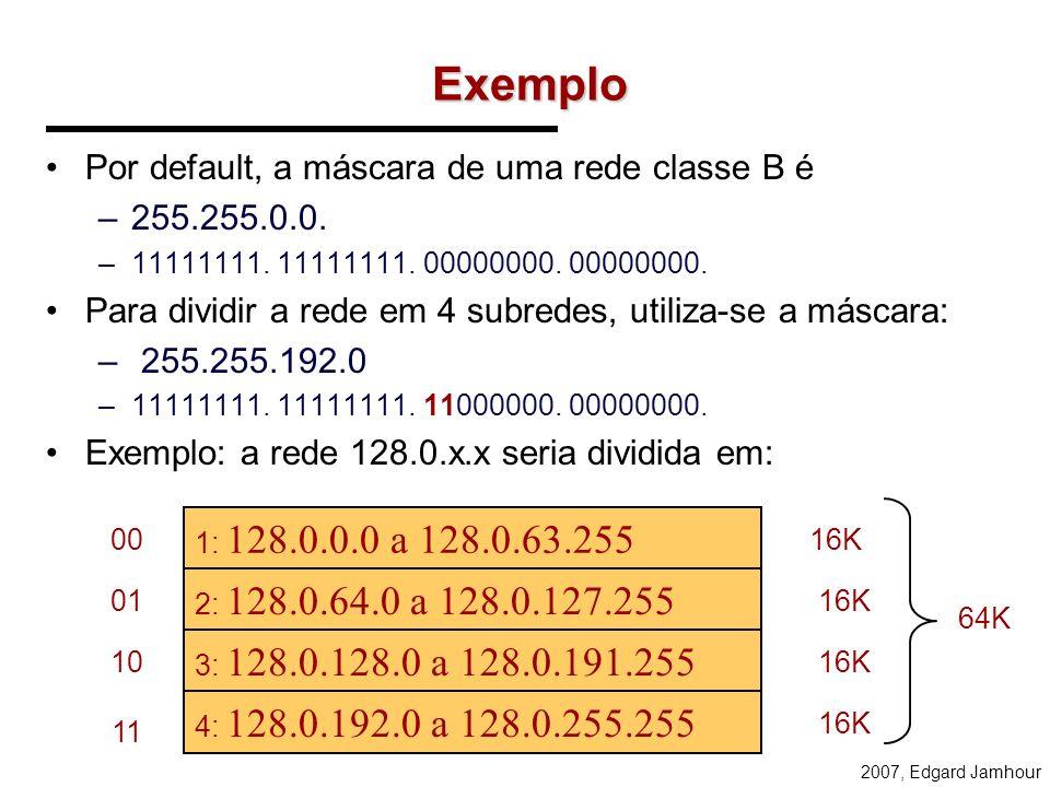 Exemplo Por default, a máscara de uma rede classe B é 255.255.0.0.