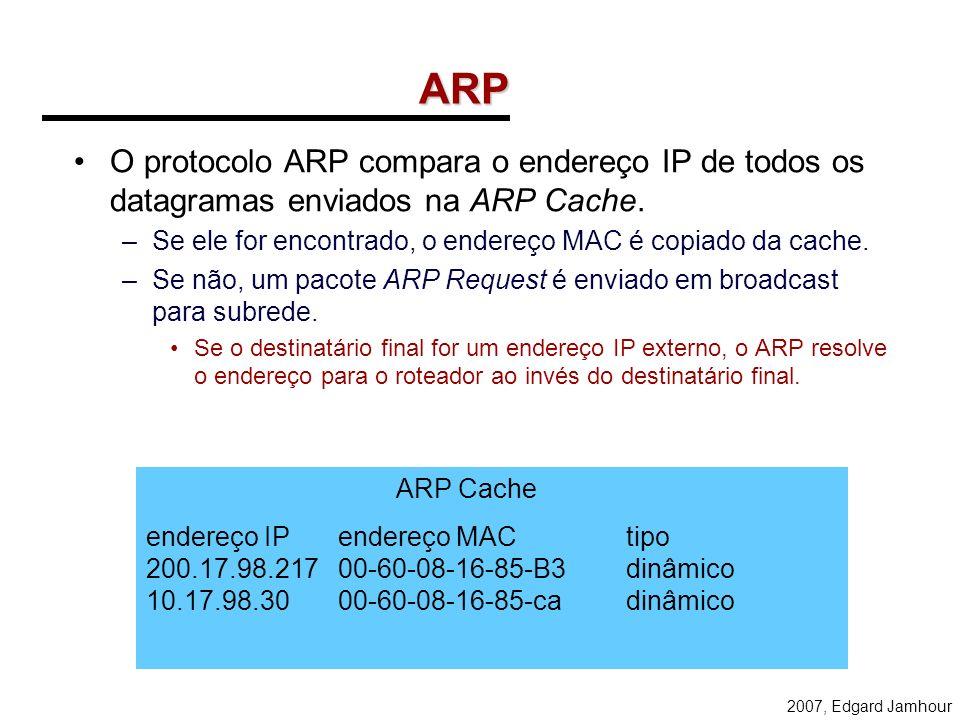 ARPO protocolo ARP compara o endereço IP de todos os datagramas enviados na ARP Cache. Se ele for encontrado, o endereço MAC é copiado da cache.