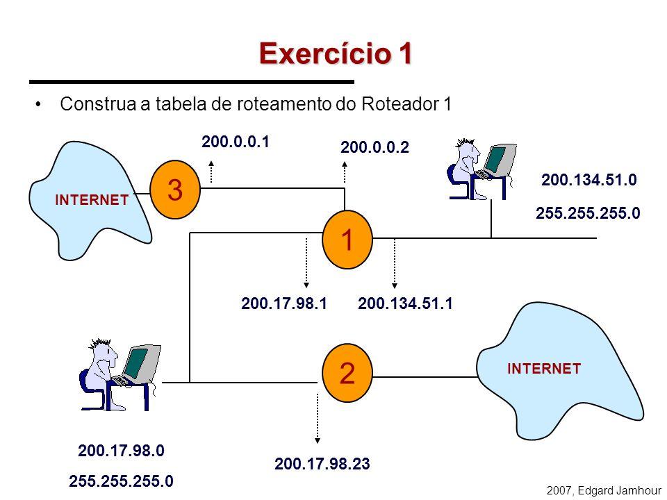 Exercício 1 3 1 2 Construa a tabela de roteamento do Roteador 1