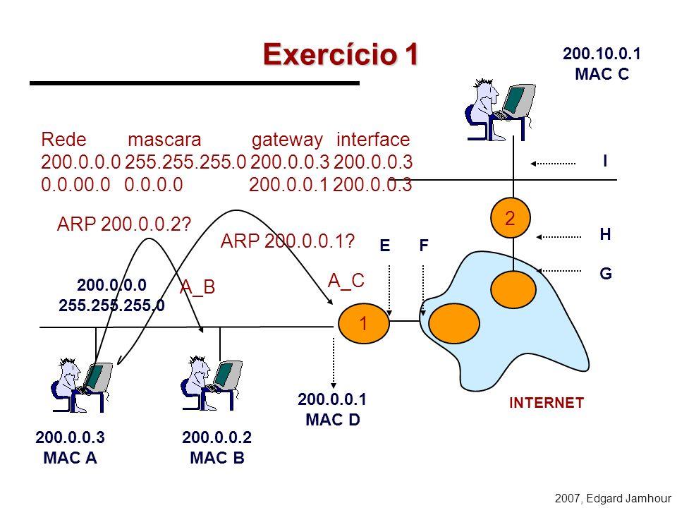 Exercício 1 Rede mascara gateway interface