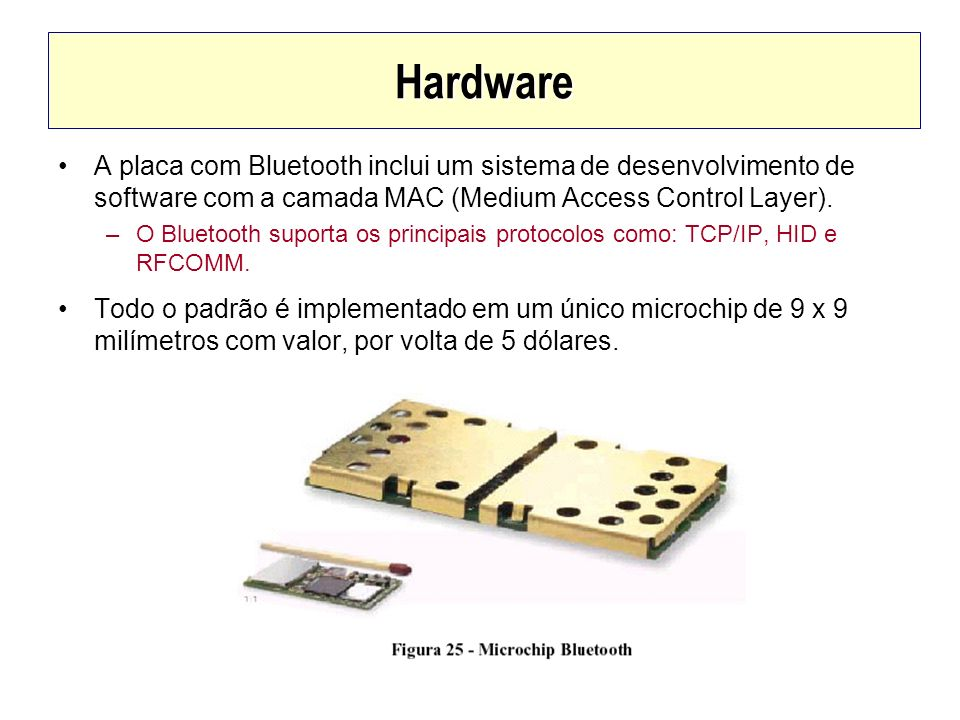 Hardware A placa com Bluetooth inclui um sistema de desenvolvimento de software com a camada MAC (Medium Access Control Layer).