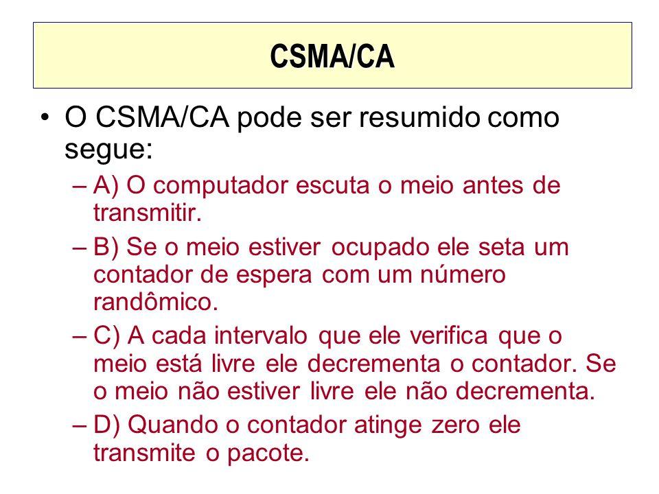 CSMA/CA O CSMA/CA pode ser resumido como segue: