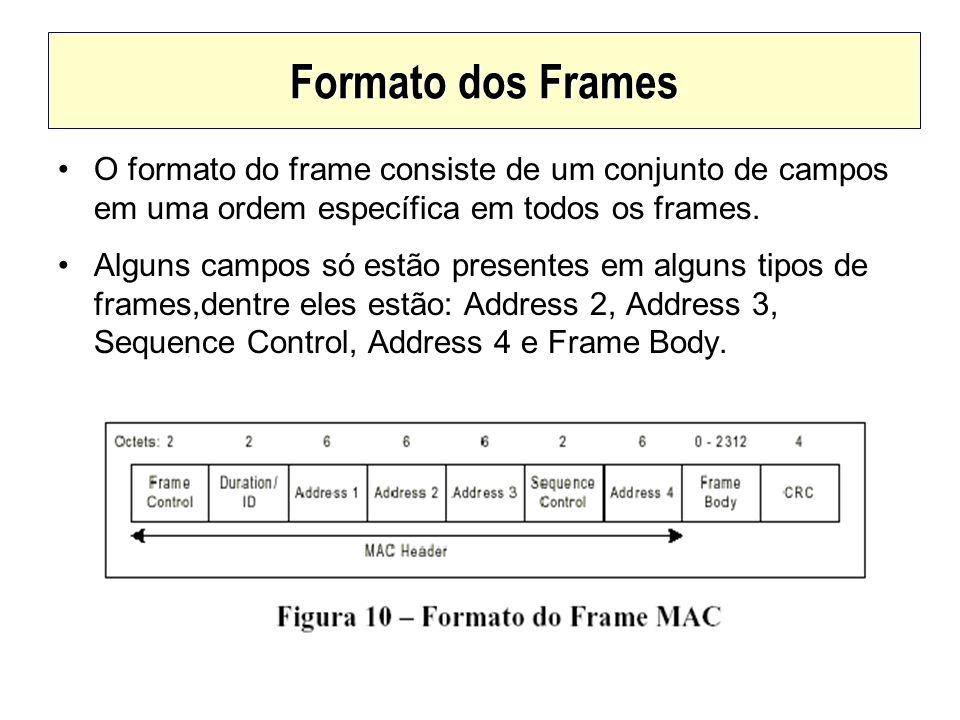 Formato dos Frames O formato do frame consiste de um conjunto de campos em uma ordem específica em todos os frames.