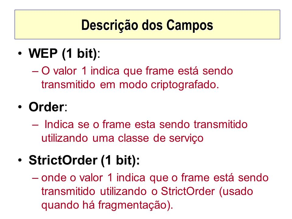 Descrição dos Campos WEP (1 bit): Order: StrictOrder (1 bit):