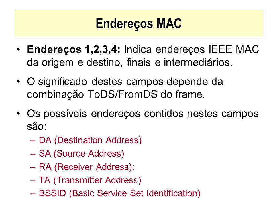 Endereços MACEndereços 1,2,3,4: Indica endereços IEEE MAC da origem e destino, finais e intermediários.