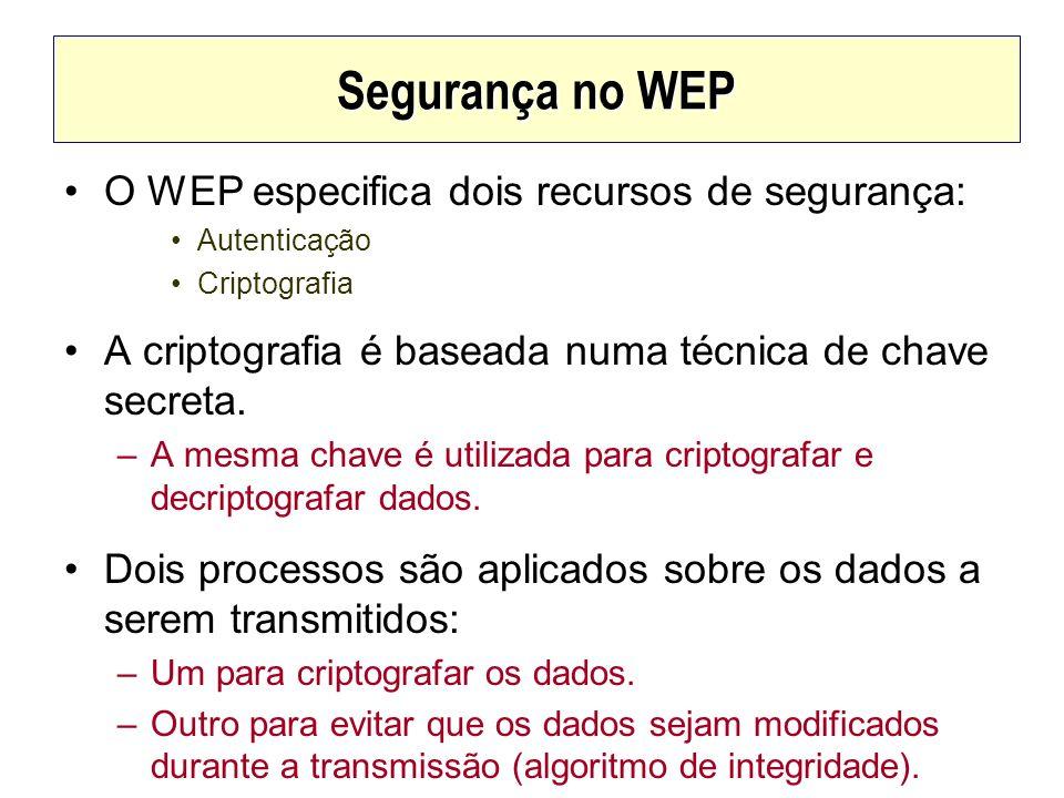 Segurança no WEP O WEP especifica dois recursos de segurança: