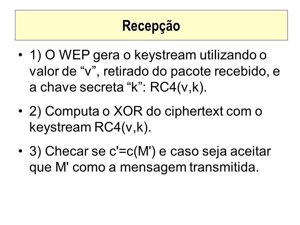 Recepção1) O WEP gera o keystream utilizando o valor de v , retirado do pacote recebido, e a chave secreta k : RC4(v,k).