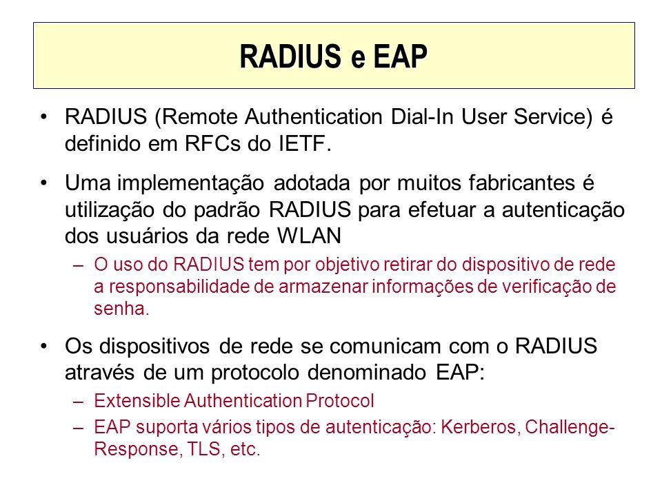 RADIUS e EAPRADIUS (Remote Authentication Dial-In User Service) é definido em RFCs do IETF.