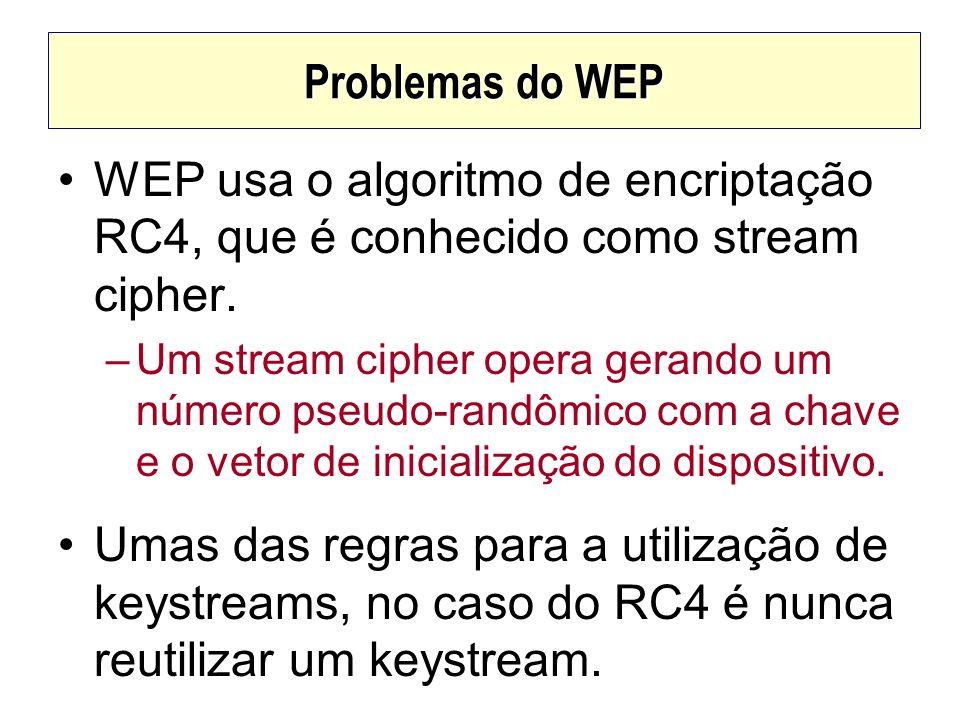 Problemas do WEPWEP usa o algoritmo de encriptação RC4, que é conhecido como stream cipher.