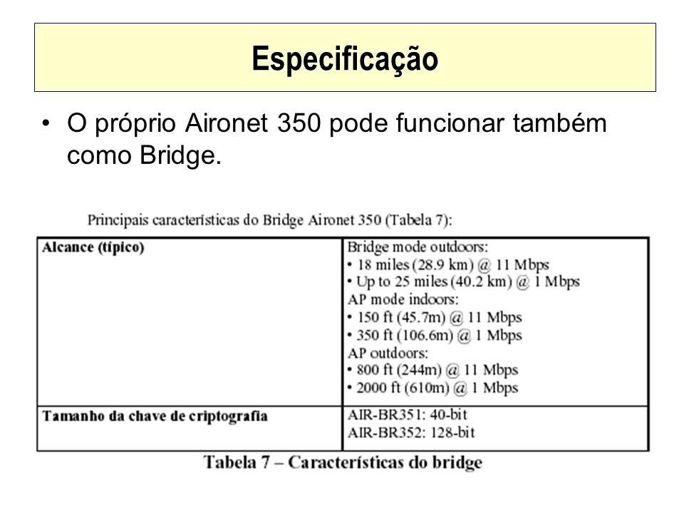 Especificação O próprio Aironet 350 pode funcionar também como Bridge.
