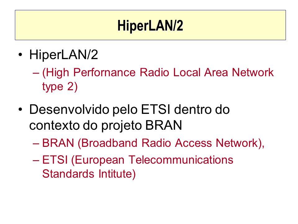 HiperLAN/2HiperLAN/2. (High Perfornance Radio Local Area Network type 2) Desenvolvido pelo ETSI dentro do contexto do projeto BRAN.