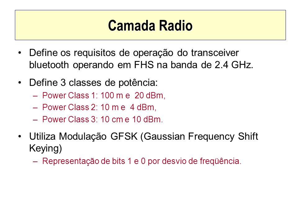 Camada RadioDefine os requisitos de operação do transceiver bluetooth operando em FHS na banda de 2.4 GHz.