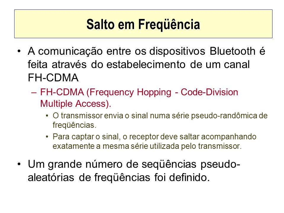 Salto em FreqüênciaA comunicação entre os dispositivos Bluetooth é feita através do estabelecimento de um canal FH-CDMA.