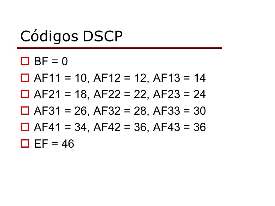 Códigos DSCP BF = 0 AF11 = 10, AF12 = 12, AF13 = 14