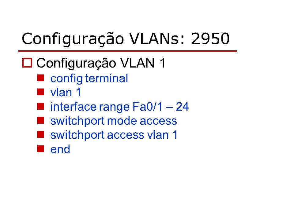 Configuração VLANs: 2950 Configuração VLAN 1 config terminal vlan 1