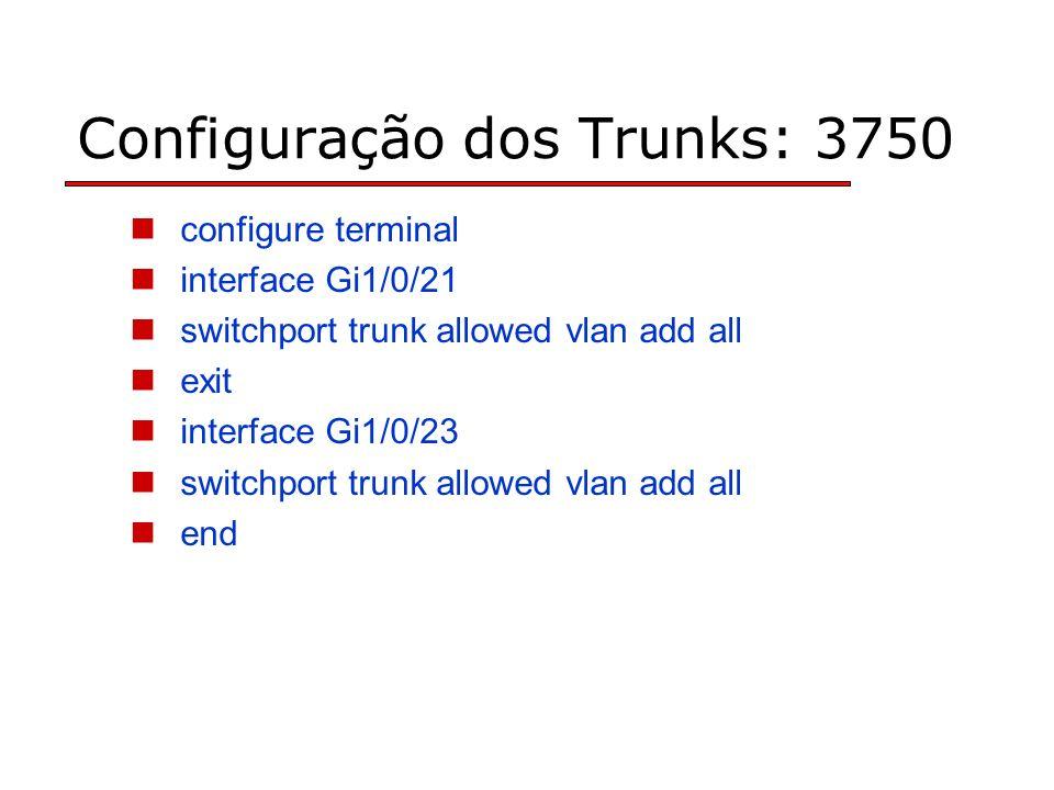 Configuração dos Trunks: 3750