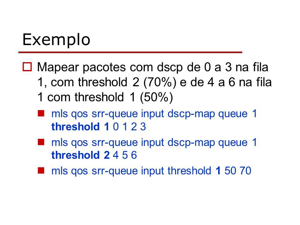 Exemplo Mapear pacotes com dscp de 0 a 3 na fila 1, com threshold 2 (70%) e de 4 a 6 na fila 1 com threshold 1 (50%)