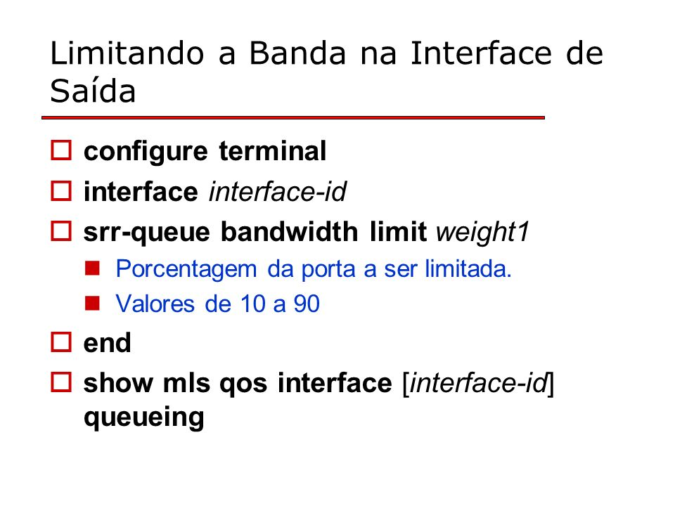 Limitando a Banda na Interface de Saída