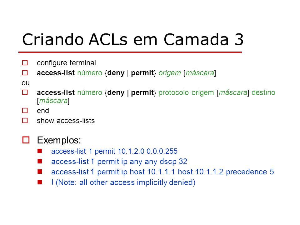 Criando ACLs em Camada 3 Exemplos: