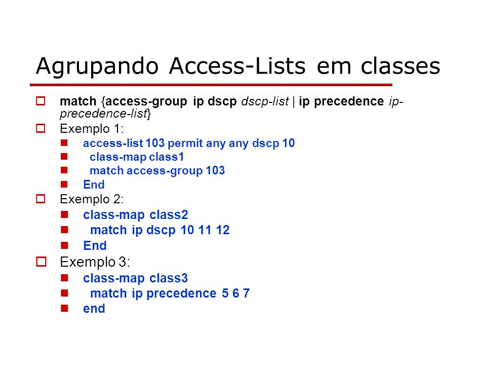 Agrupando Access-Lists em classes