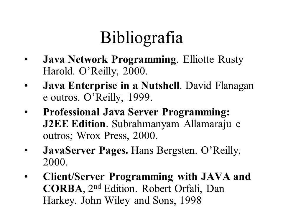 BibliografiaJava Network Programming. Elliotte Rusty Harold. O'Reilly, 2000. Java Enterprise in a Nutshell. David Flanagan e outros. O'Reilly, 1999.