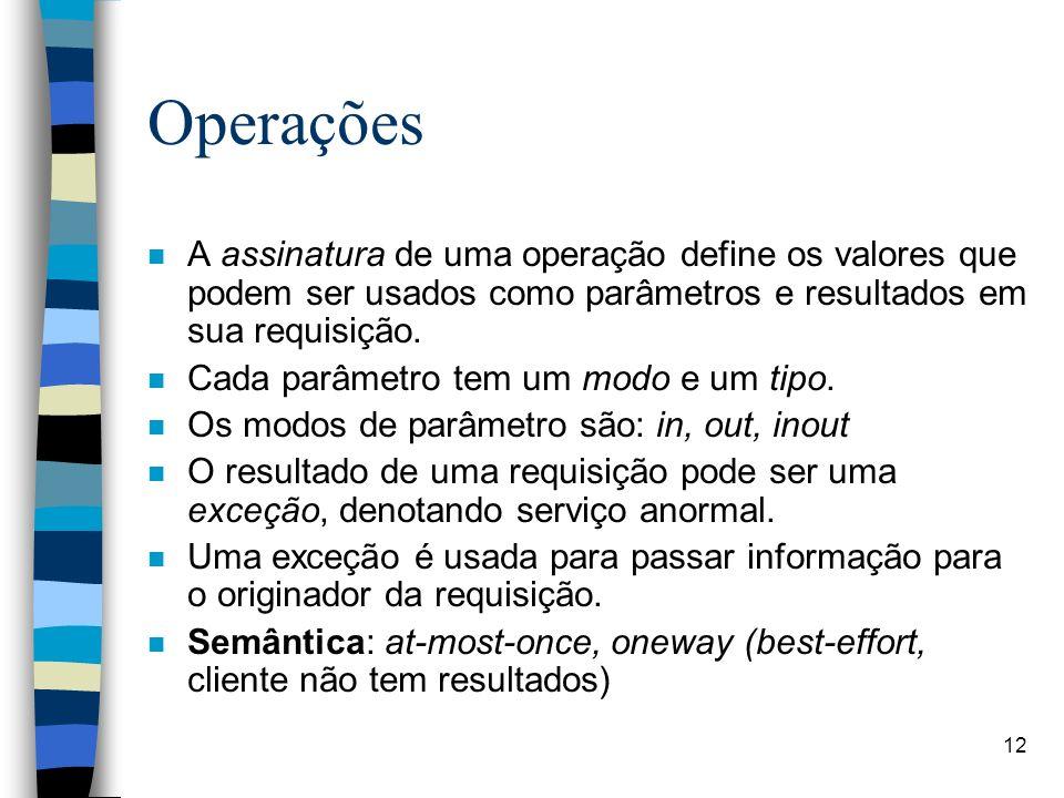 Operações A assinatura de uma operação define os valores que podem ser usados como parâmetros e resultados em sua requisição.