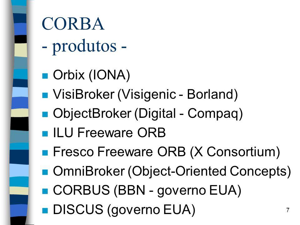 CORBA - produtos - Orbix (IONA) VisiBroker (Visigenic - Borland)