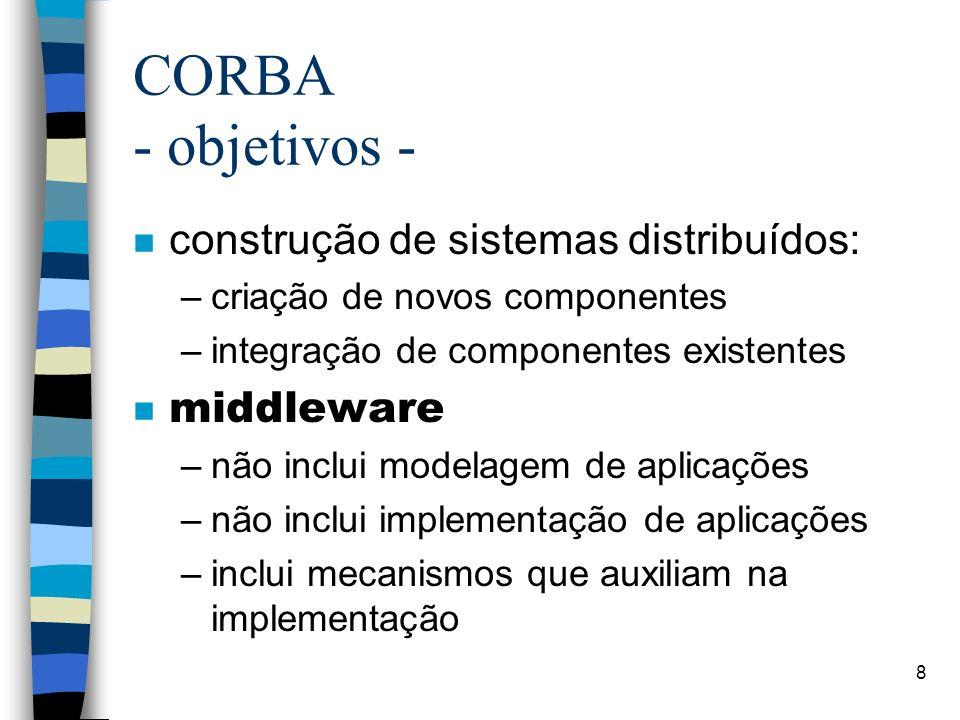 CORBA - objetivos - construção de sistemas distribuídos: middleware