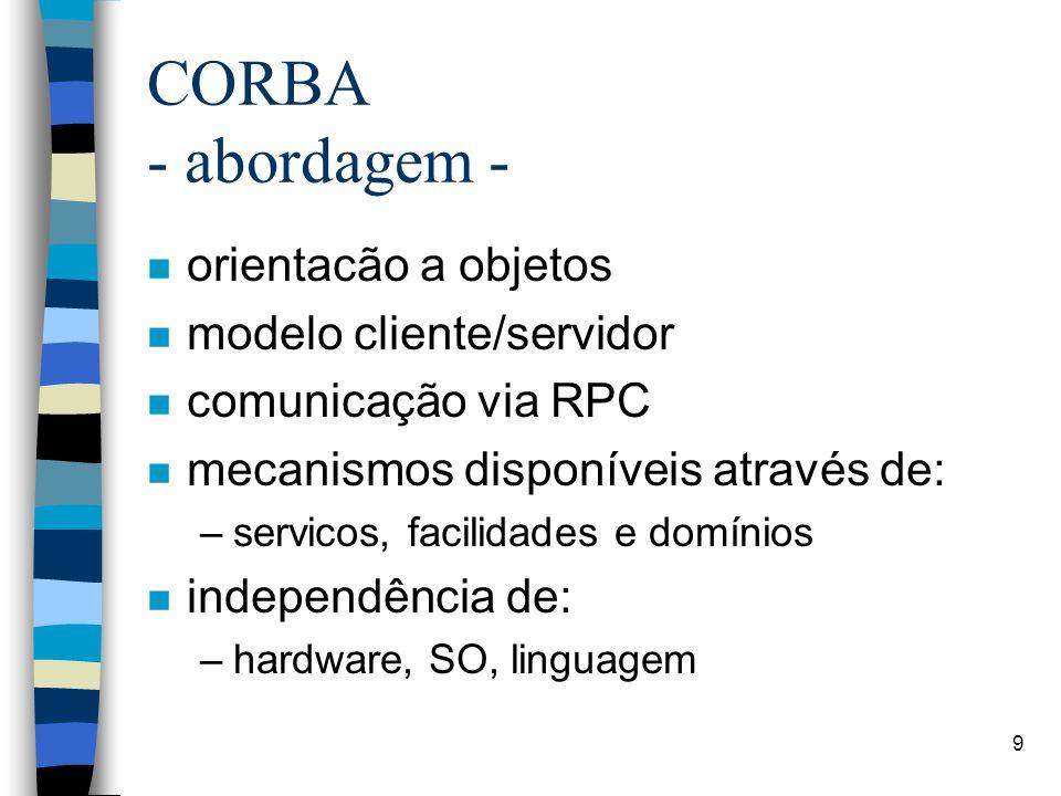 CORBA - abordagem - orientacão a objetos modelo cliente/servidor
