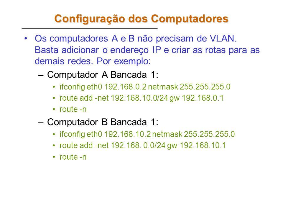 Configuração dos Computadores