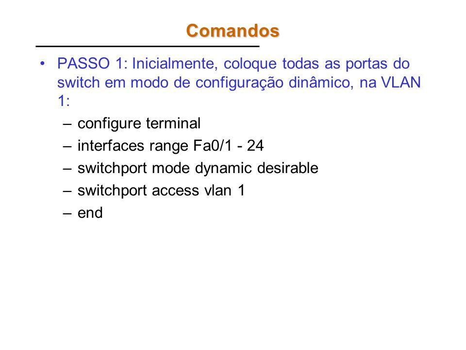 Comandos PASSO 1: Inicialmente, coloque todas as portas do switch em modo de configuração dinâmico, na VLAN 1: