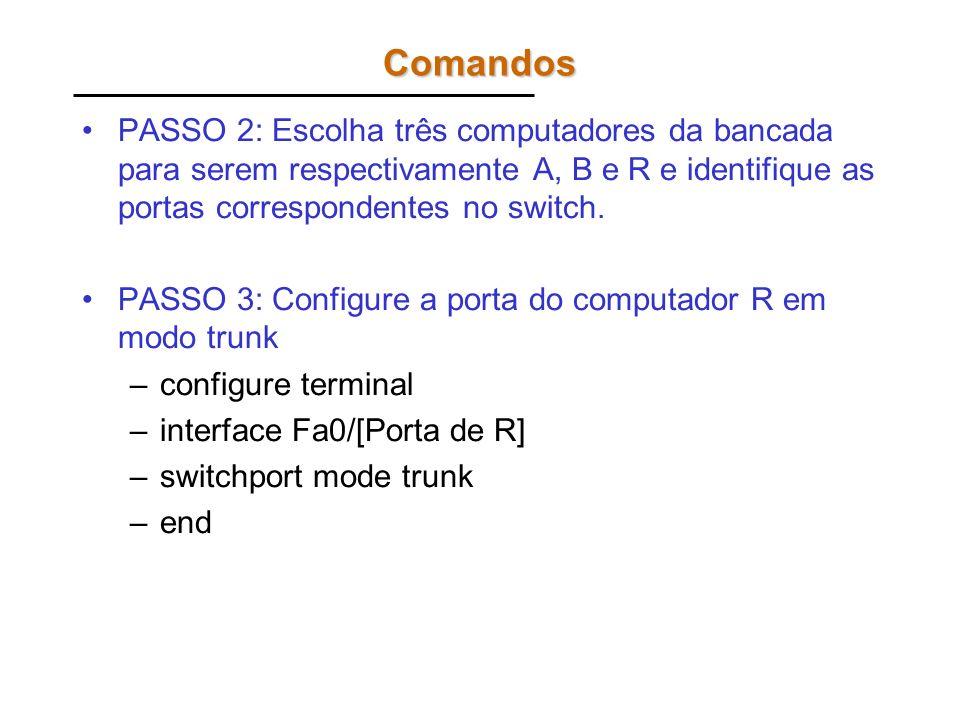 Comandos PASSO 2: Escolha três computadores da bancada para serem respectivamente A, B e R e identifique as portas correspondentes no switch.