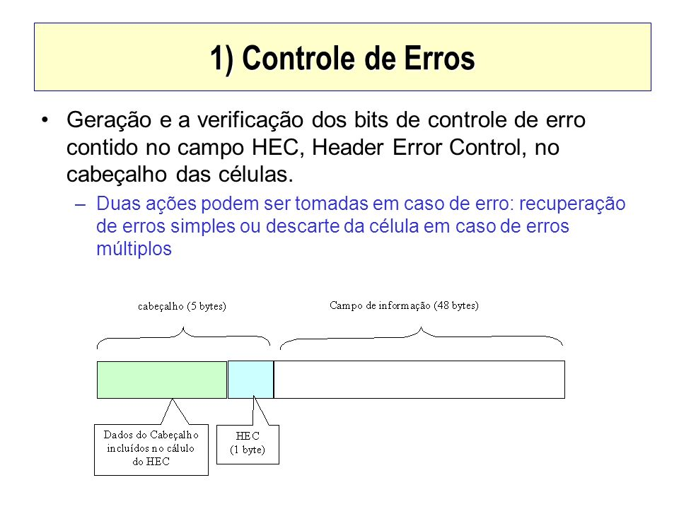 1) Controle de Erros Geração e a verificação dos bits de controle de erro contido no campo HEC, Header Error Control, no cabeçalho das células.
