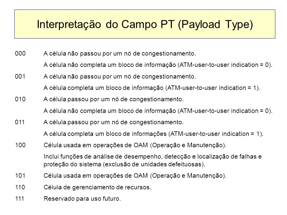 Interpretação do Campo PT (Payload Type)