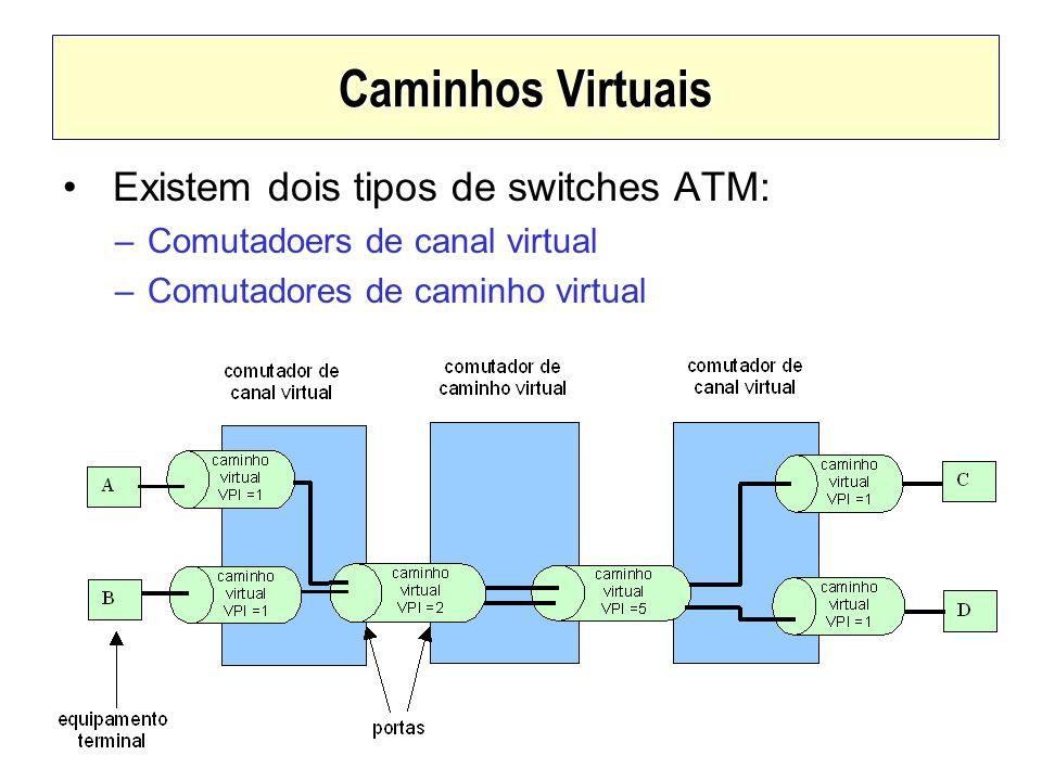 Caminhos Virtuais Existem dois tipos de switches ATM: