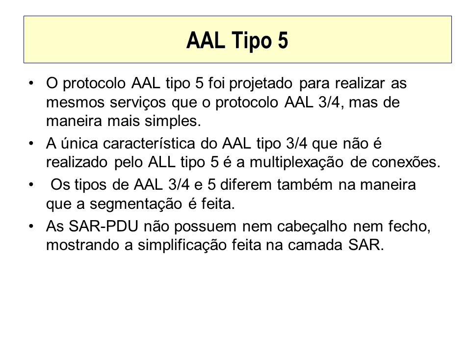 AAL Tipo 5 O protocolo AAL tipo 5 foi projetado para realizar as mesmos serviços que o protocolo AAL 3/4, mas de maneira mais simples.