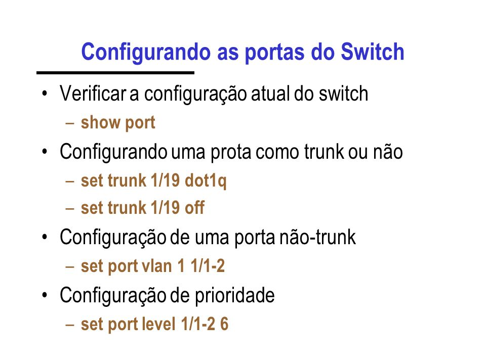 Configurando as portas do Switch