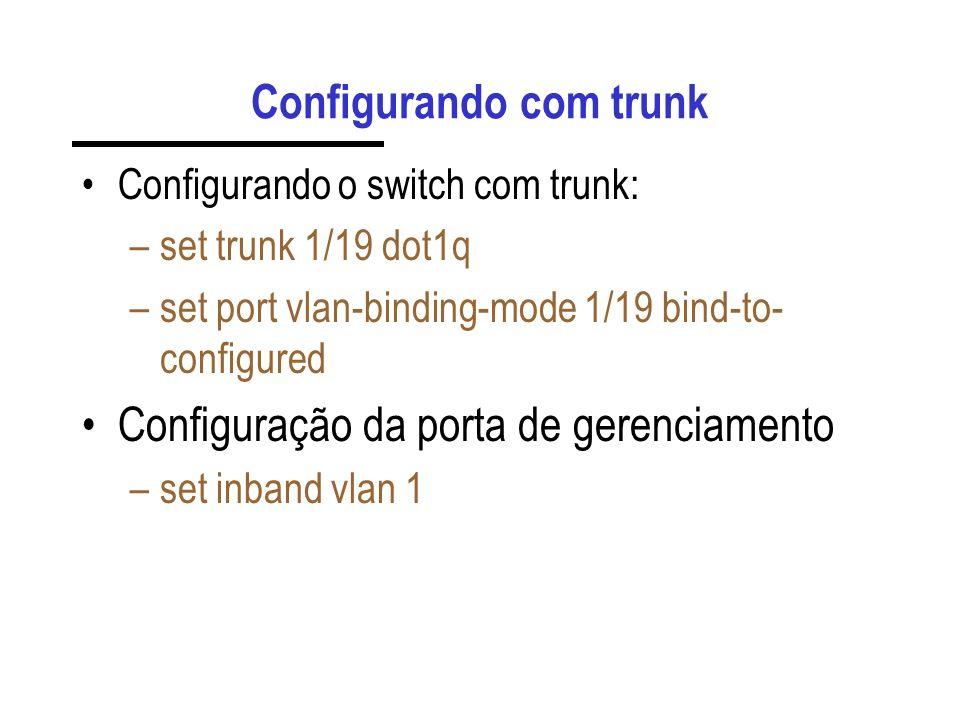 Configurando com trunk