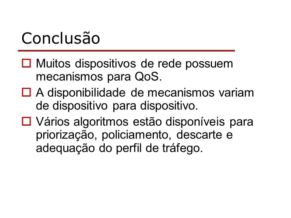 Conclusão Muitos dispositivos de rede possuem mecanismos para QoS.