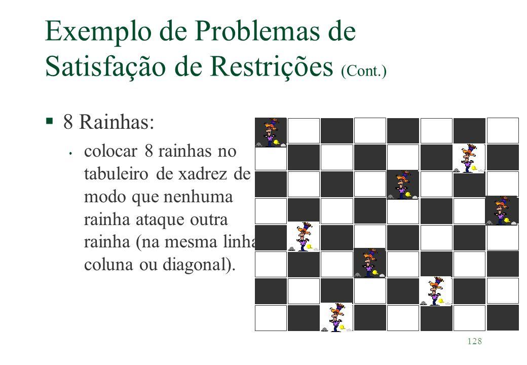 Exemplo de Problemas de Satisfação de Restrições (Cont.)
