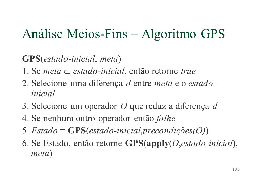 Análise Meios-Fins – Algoritmo GPS