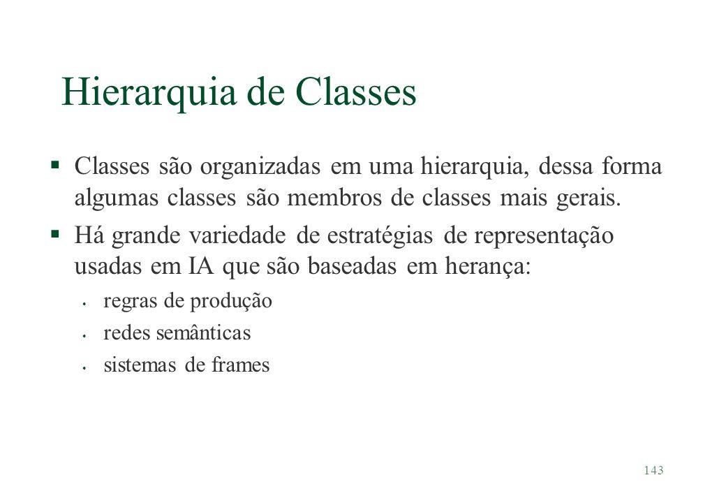Hierarquia de Classes Classes são organizadas em uma hierarquia, dessa forma algumas classes são membros de classes mais gerais.