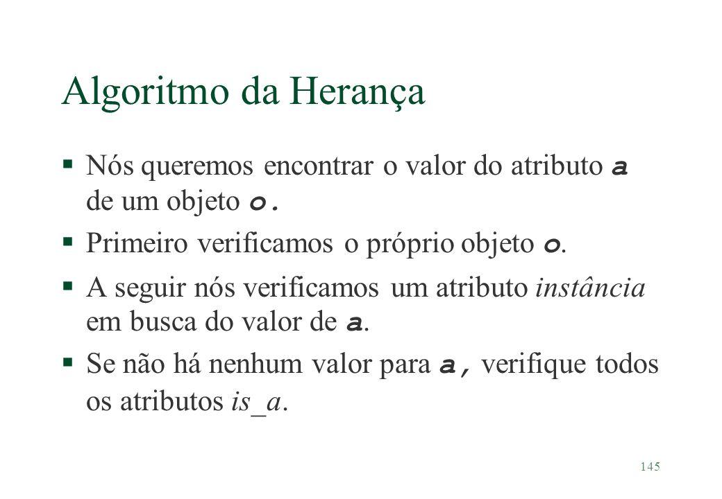Algoritmo da Herança Nós queremos encontrar o valor do atributo a de um objeto o. Primeiro verificamos o próprio objeto o.