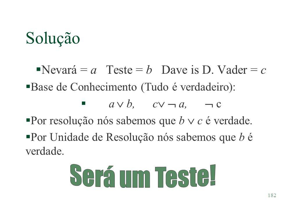 Nevará = a Teste = b Dave is D. Vader = c