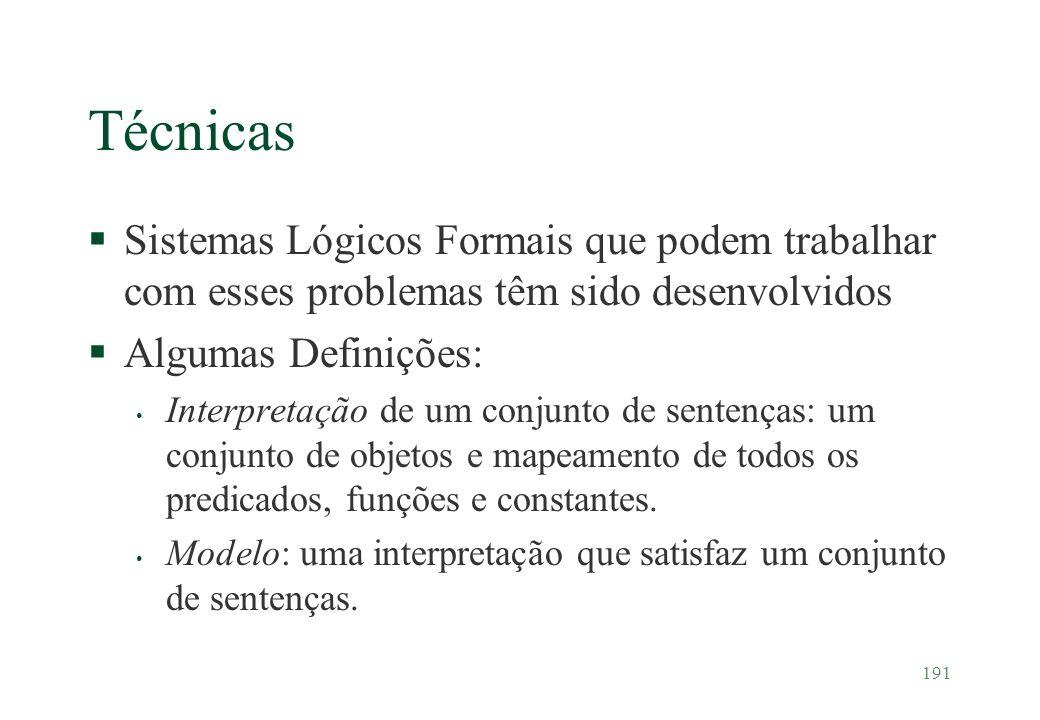 Técnicas Sistemas Lógicos Formais que podem trabalhar com esses problemas têm sido desenvolvidos. Algumas Definições: