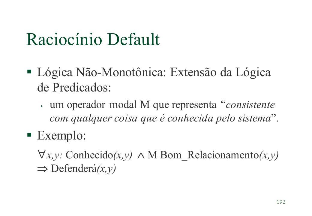 Raciocínio Default Lógica Não-Monotônica: Extensão da Lógica de Predicados: