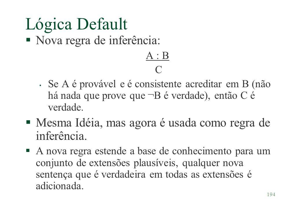 Lógica Default Nova regra de inferência: