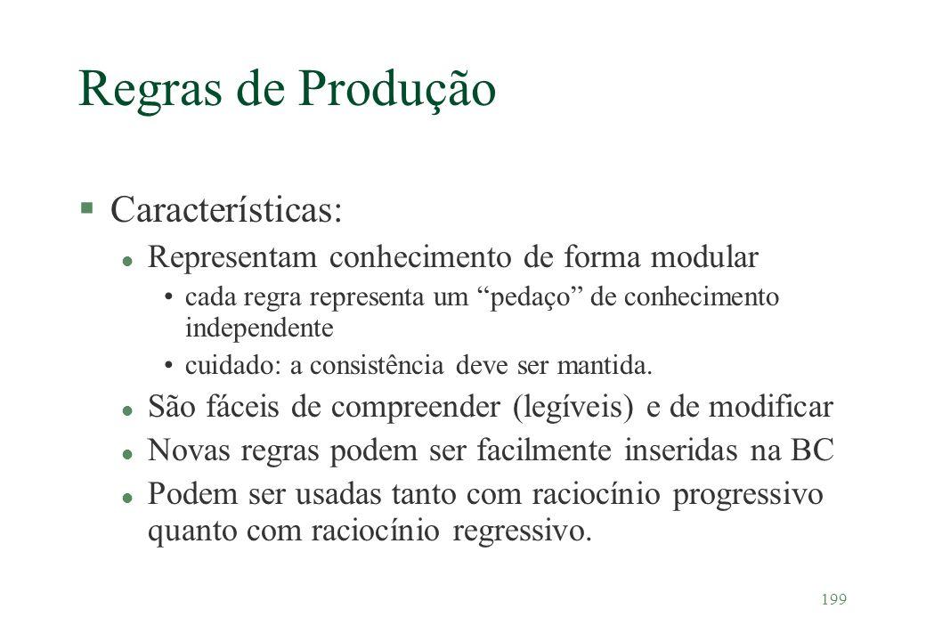 Regras de Produção Características: