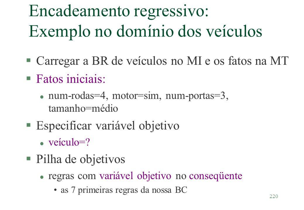 Encadeamento regressivo: Exemplo no domínio dos veículos
